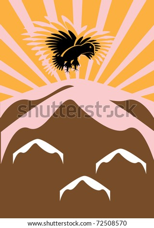 the eagle flies over mountains
