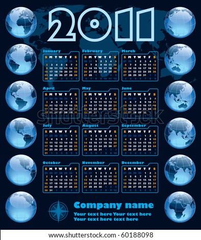 The Earth blue calendar for 2011, weeks starts on Sunday