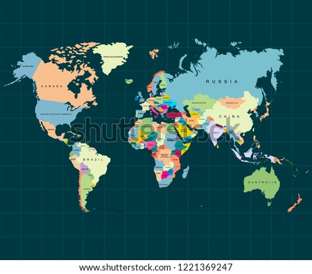The Earth. World Map on dark background. Vector illustration #1221369247