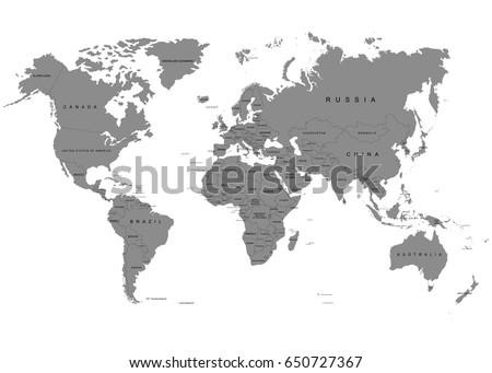 The Earth, World Map on white background. Antarctica. Vector illustration