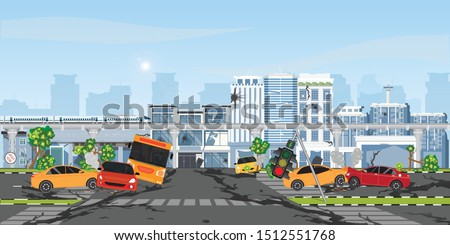 The earthquake destroyed building and street, Damaged city street. Cataclysm damages road destruction and destroyed urban crossroad. War disaster or car destroy earthquake.vector illustration.