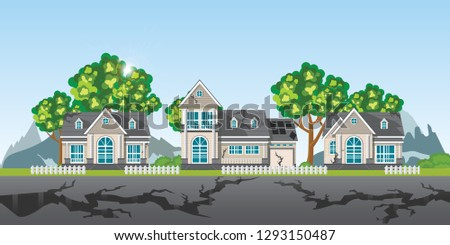 The earthquake destroyed village of houses and street, Natural disasters vector illustration.