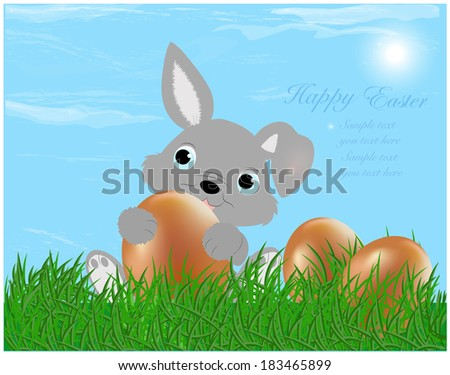 The Easter bunny with Easter eggs with more Easter eggs around him