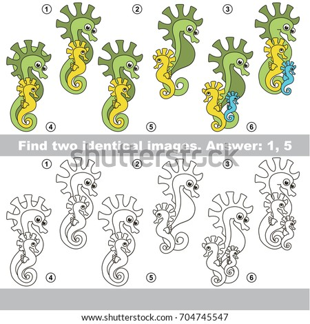 The educational kid matching game for preschool kids with easy gaming level, he task is to find similar objects, to compare items and find two same Seahorses Mom and Baby