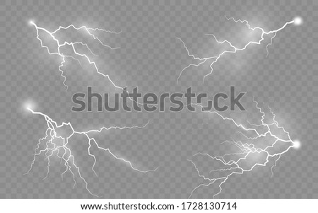 The effect of lightning and lighting, set of zippers, thunderstorm and lightning