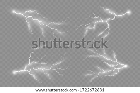 The effect of lightning and lighting, set of zippers, thunderstorm and lightning, symbol of natural strength or magic, light and shine, abstract, electricity and explosion, vector illustration, eps 10