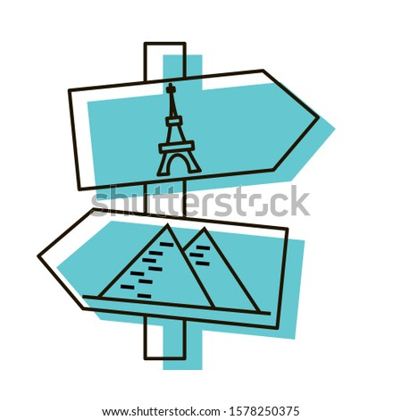 The Eiffel Tower and Egyptian pyramids directions arrows. Wonders of the World. Navigation object for tourists. Design element. Vector illustration. Icon with shadow isolated on white background.