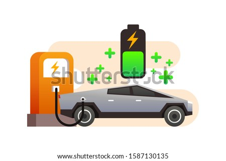 The Electric Tesla Cyber Truck Car Is Charging The Battery At Super Charger Station. Cyber Truck Vector. Futuristic And Modern Autonomous Self Driving Car Truck Illustration Background.