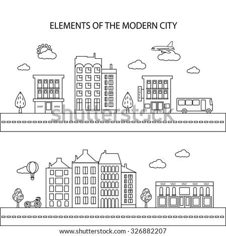 The elements of a modern city in a linear style. Different city elements for creating your own map. Vector illustration