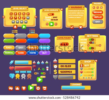 The elements of the game interface. game menu, level interface ,panels ,ui ,buttons