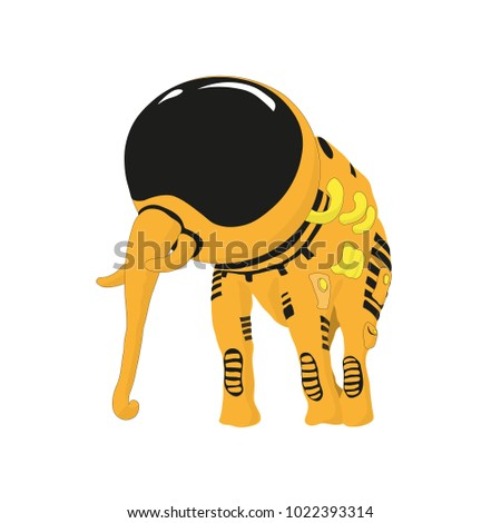 The elephant in the yellow diving suit is standing. Isolated. Without background. Vector drawing.