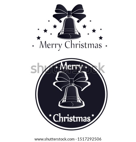 The emblem of a bell. Christmas bell. Vector illustration