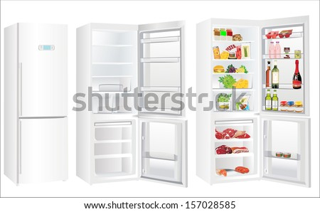 The empty white refrigerator and full with some kinds of food - vegetables, meat, fish
