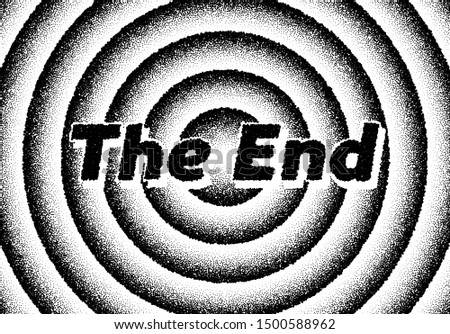 The end movie titles screen with circles and retro stipple style