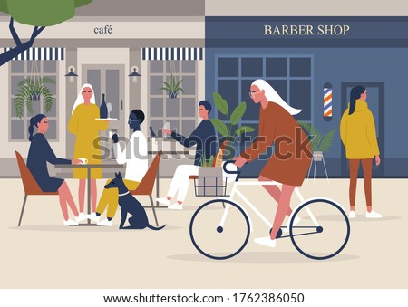 The end of pandemic, restaurants and barber shops reopening, back to normal, people walking, biking and sitting at the cafe, millennial lifestyle Foto stock ©