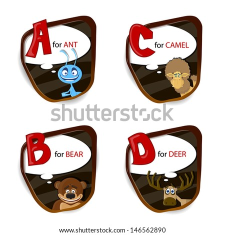 the english alphabet of animal
