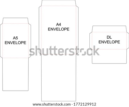 The envelope A4, A5, DL sizes die cut template. Vector black isolated circuit envelope. International standard size Foto stock ©