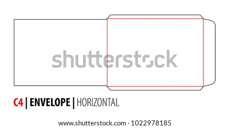 The envelope C4 horizontal size die cut outline template for A4 documents. Stamp. Vector black isolated circuit envelope. International standard size