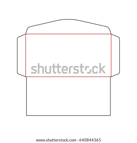 The envelope DL size die cut template for card, invitation. Stamp. Vector black isolated circuit envelope. International standard size