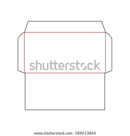 The envelope DL size die cut template. Stamp. Vector black isolated circuit envelope.