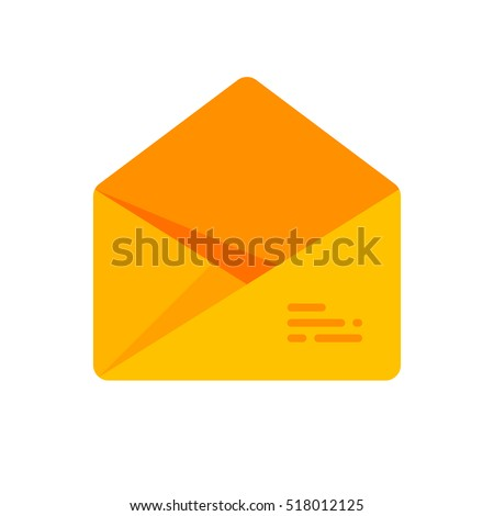 The envelope with the letter. Vector icon. Yellow