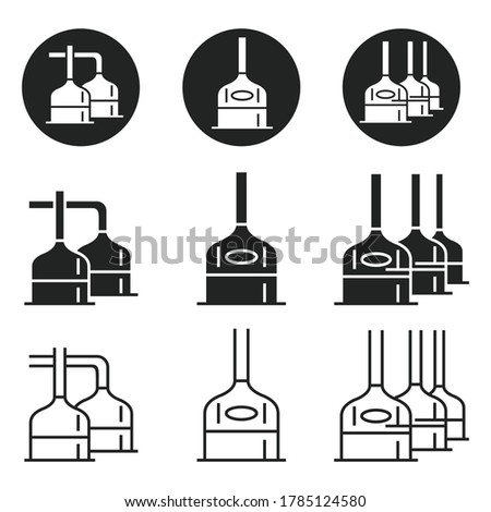 The equipment of the brewery. Set of icons for industrial tanks for brewing beer. Vector illustration isolated on a white background for design and web. ストックフォト ©
