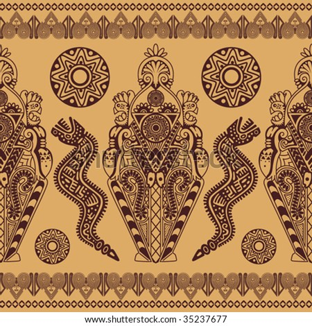 the ethnic symmetric African decorative pattern is in tones of coffees