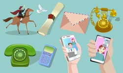 The evolution of communications. A messenger on a horse with a letter, Vintage telephone, modern technologies. Video call