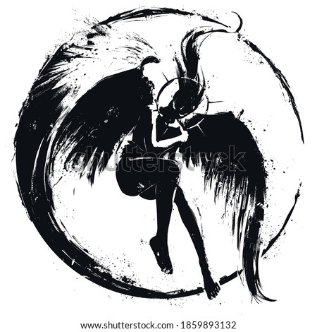 The exhausted angel girl hugs herself in flight, her hair billows up, her eyes glow in the dark, her huge wings cover her like a shield. 2D illustration. Foto stock ©