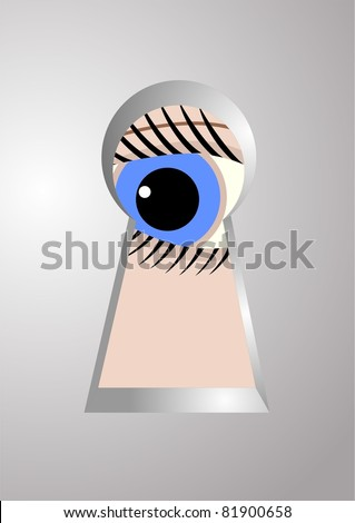 The eye at the keyhole, a metal door.