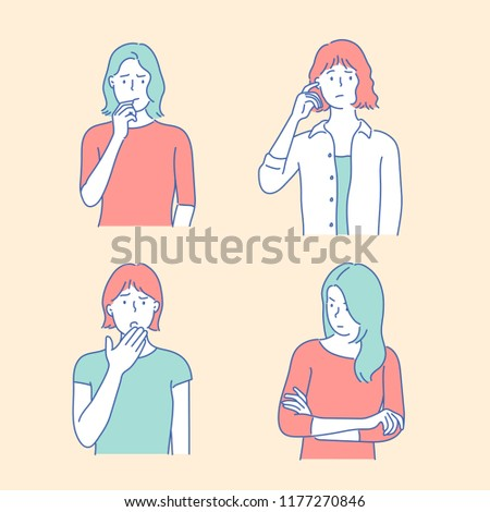 The faces of four women with serious facial expressions. hand drawn style vector design illustrations.