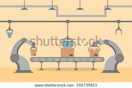The factory conveyor on packing smartphone in a box in flat style.Robotic hand,arm,pointing device. Production Line with Cardboard Boxes.Industrial machine. robot industry factory manufacture.