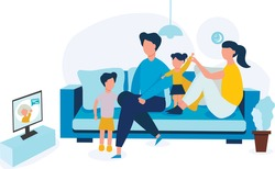 The family communicate via Skype with their grandmother. Grandma and grandkids talk online. A conversation on the Internet. Dad, mom, Daughter and son are sitting on the couch. Technologies.Vector.