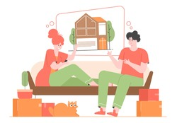 The family dreams of buying their own property. Moving to a new house, renting an apartment. Investments in real estate. Young cute characters man and woman, cat. Vector flat illustration.