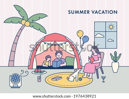 The family is setting up a tent in the house and enjoying their vacation. flat design style minimal vector illustration.