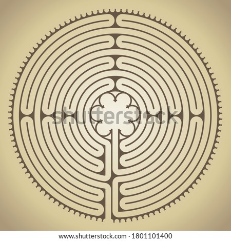 The famous labyrinth of the Chartres cathedral, France, vector illustration Stock photo ©