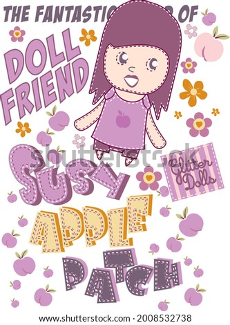 The Fantastic World Of Doll Friend T-shirt Design Vector Susy Apple patch Stok fotoğraf ©