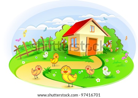 the farm with chickens and ducks
