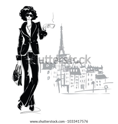 The fashion girl in sketch style in Paris. Vector illustration