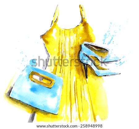 the fashion handbag  dress and