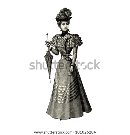 "The fashion Of 1897- Vintage engraved illustration - ""La mode illustree"" by Firmin-Didot et Cie in 1897 France - stock vector"