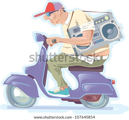 The fat bald-headed man with the boombox is riding the scooter.