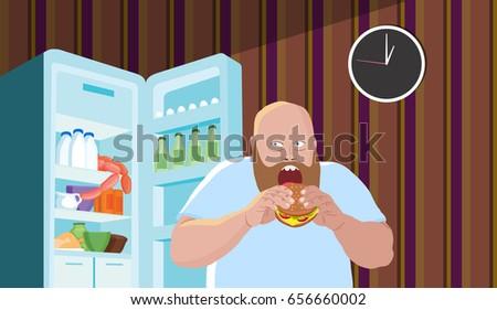 the fat man eats a hamburger in