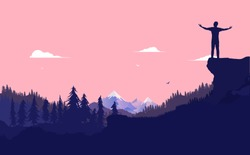 The feeling of freedom - Person standing on hilltop over valley with hands out taking in the view and feeling totally free. Personal achievement and success concept. Vector illustration.
