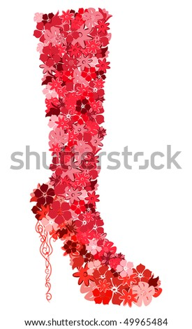 The female boot consisting of flowers. Vector illustration #49965484