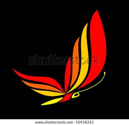 The fiery butterfly - stock vector