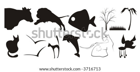 The figure containing of some silhouettes of different animals and plants. The image is executed by black color on a white background - stock vector