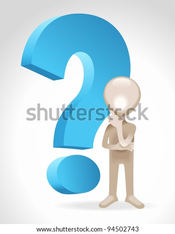 the figure of a man standing with a question mark
