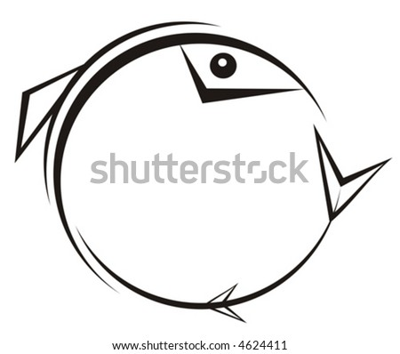 The figure representing a black pattern in Gothic style in the form of a fish, concluded in a circle, on a white background. It can be used as a trade mark, a tattoo and a part of your composition