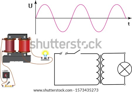 The figure shows a graph of alternating current, the transformer to which the incandescent lamp is connected. Stock foto ©